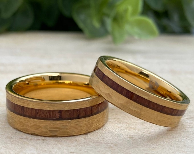 Yellow Gold Hammered Wood Tungsten Ring His Her Set or Single Wedding Band 8MM 6MM 4MM Size 4 to 14 Men Women  Anniversary Duo Promise Gift