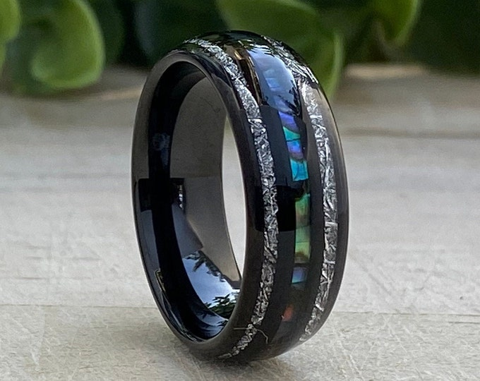 Black Tungsten Ring Meteorite Mother of Pearl 3 Layer Inlay Men Women Wedding Band 8MM Size 5-14 Male Anniversary His Hers Holiday Gift Idea