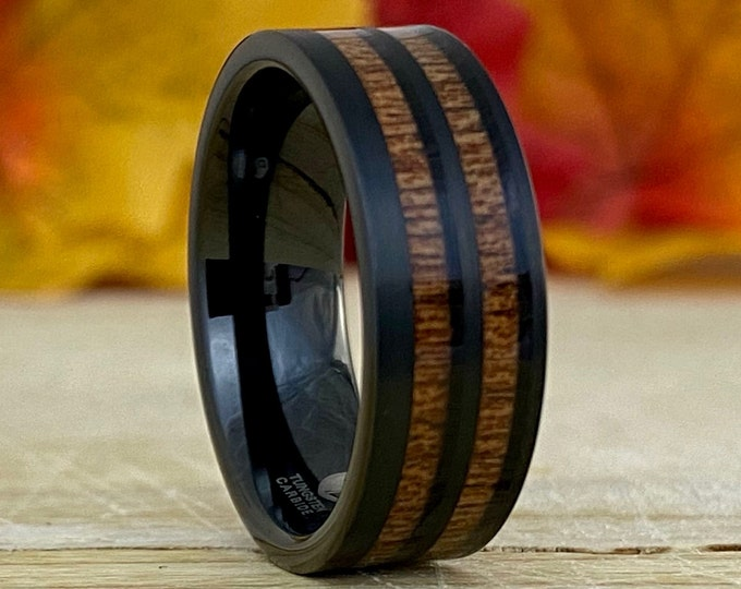 Men Black Tungsten Ring Double Wood Inlay Wedding Band Brush 8MM Comfort Fit Size 5 - 14 His Unique Engagement Anniversary Holiday Gift Idea