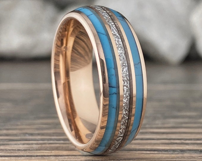 Turquoise Meteorite Triple Inlay Rose Gold Wedding Band Men Women Tungsten Ring 8MM Size 5 to 15 His Her Anniversary Engagement Promise Gift