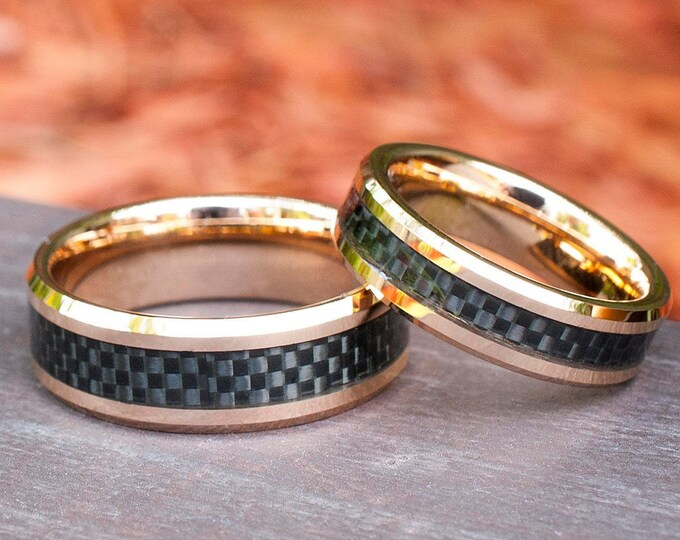 Rose Gold Tungsten Ring Black Carbon Inlay Men Women Set or Single Ring Wedding Band Comfort Fit 8MM 6MM Size 5 to 15 Husband Wife Love Gift