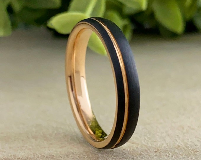 Rose Gold Thin Tungsten Black Ring Woman Wedding Band Men 4MM Width Brushed Anniversary Engagement Gift Size 4 to 14 His Her Promise Love