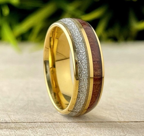 Wood Meteorite Gold Tungsten Ring Male Wedding Band Polished 2-Inlay Domed Design 8MM Size 5 to 15 Mens Promise Anniversary Fathers Day Gift