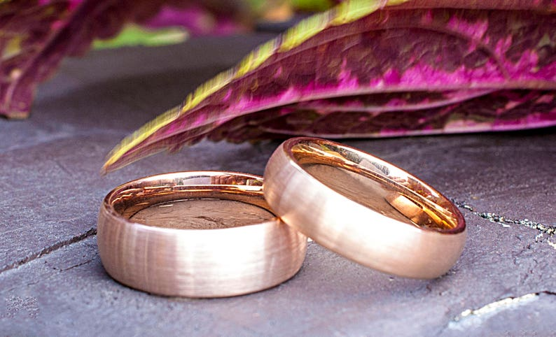 Tungsten Ring Rose Gold Wedding Bridal Band Men Women 8MM Wide Classic Brushed Design Size 5 to 14 His or Her Anniversary Engagement Gift