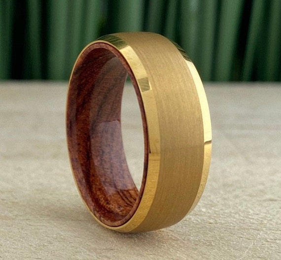 Wood In Yellow Gold Tungsten Ring Men Wedding Band Brushed Design 8MM Rosewood Sleeve Size 5 to 15 His Anniversary Engagement Promise Gift