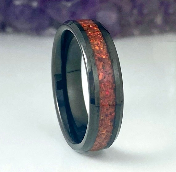 Black Tungsten Ring Red Opal Wedding Band Men Women 6MM Ruby Color Beveled Design Size 5 to 14 His Her Anniversary Engagement Promise Gift