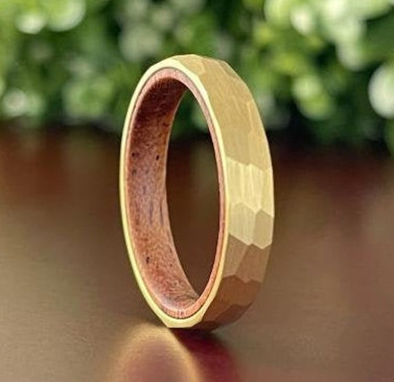 Hammered Yellow Gold Tungsten Ring Thin Women 4mm Wood In Wedding Band Men Matte Rosewood Design Sizes 5 to 13 His Her Anniversary Gift Idea