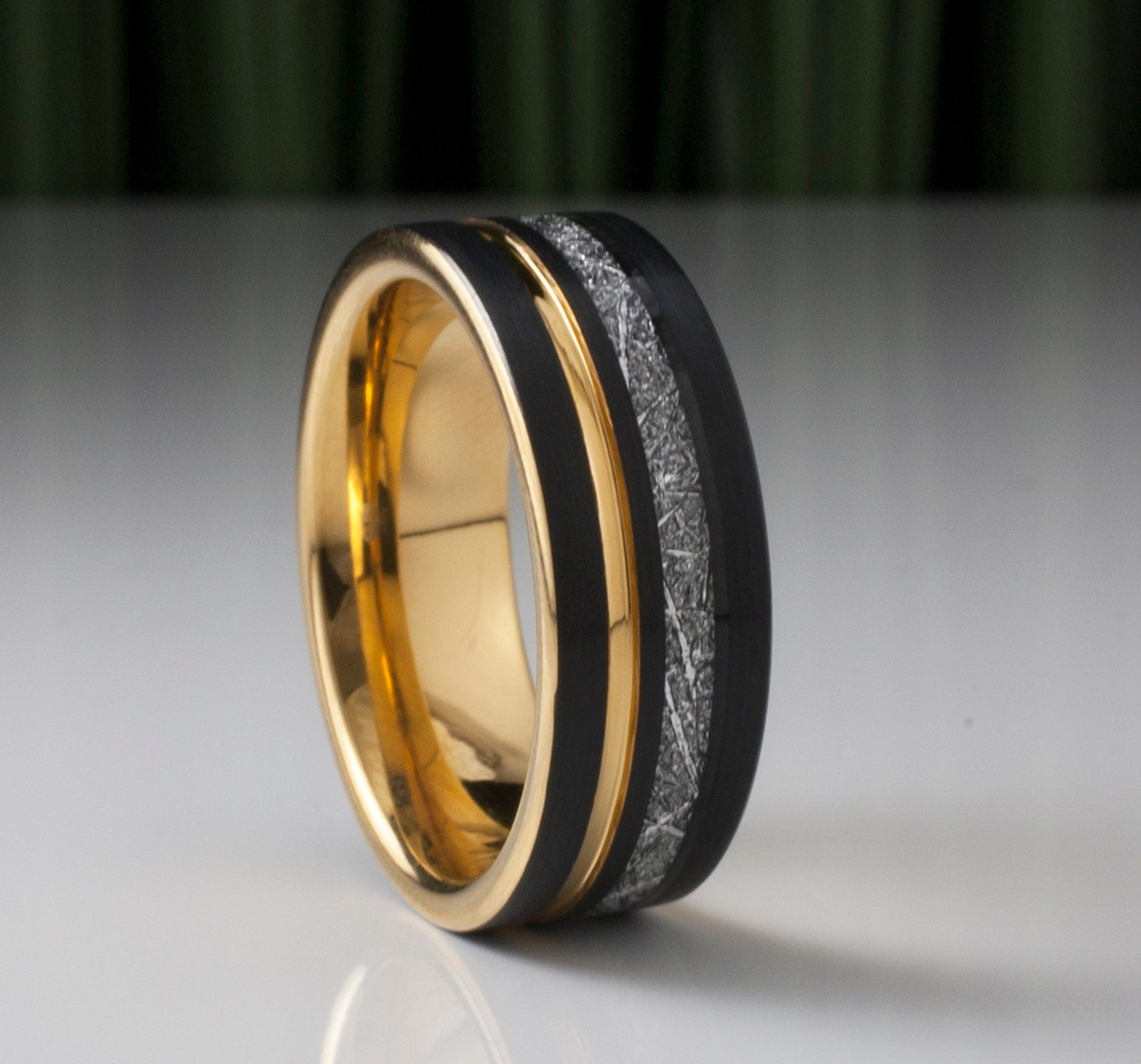 Gold Black Tungsten Ring Men Meteorite Inlay Wedding Band Yellow