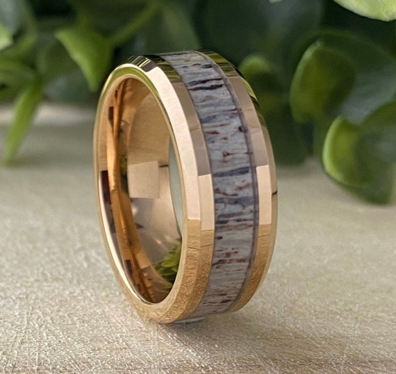 Rose Gold Tungsten Ring Deer Antler Inlay Men Wedding Band Polished Male 8MM Size 5 to 15 His Significant Other Anniversary Engagement Gift