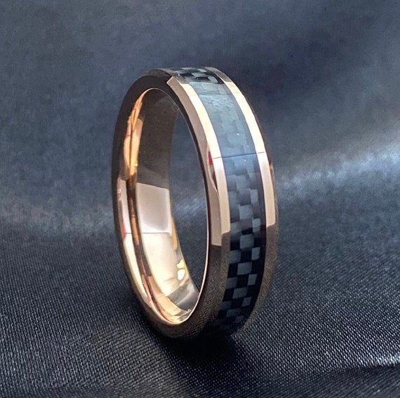 Rose Gold Tungsten Ring Black Wedding Band Carbon Fiber Inlay Beveled 6MM Men Women Size 5 to 14 Anniversary Gift His Her Engagement Ring
