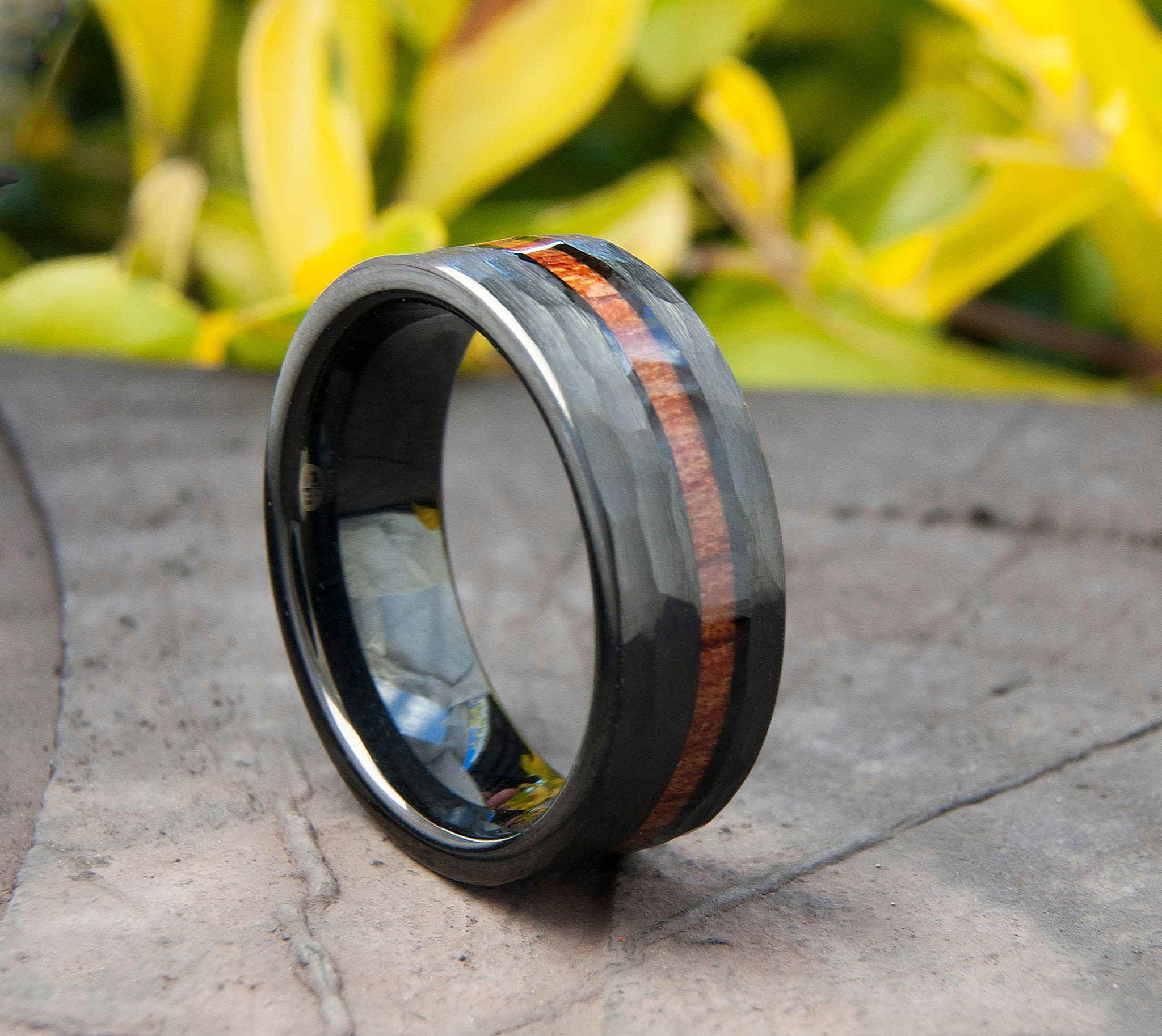 Details about  /8mm Black Men/'s Tungsten Carbide ring Red Wood Inlay Wedding Band mens jewelry