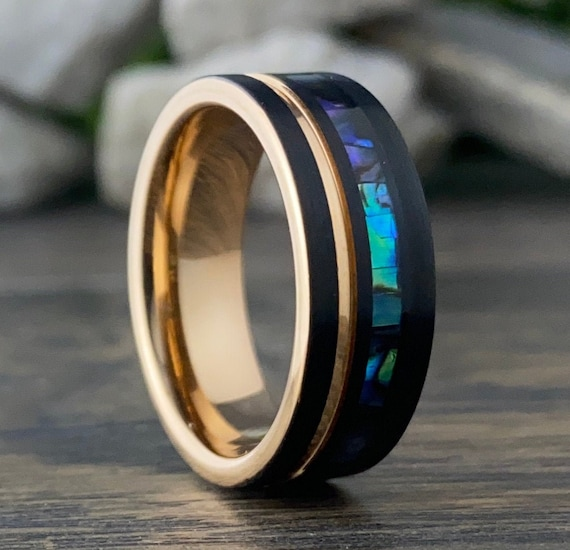 Rose Gold Black Abalone Shell Wedding Band Men Women Tungsten Ring 8MM Mother Of Pearl Size 5 to 15 Male Unique Anniversary Engagement Gift