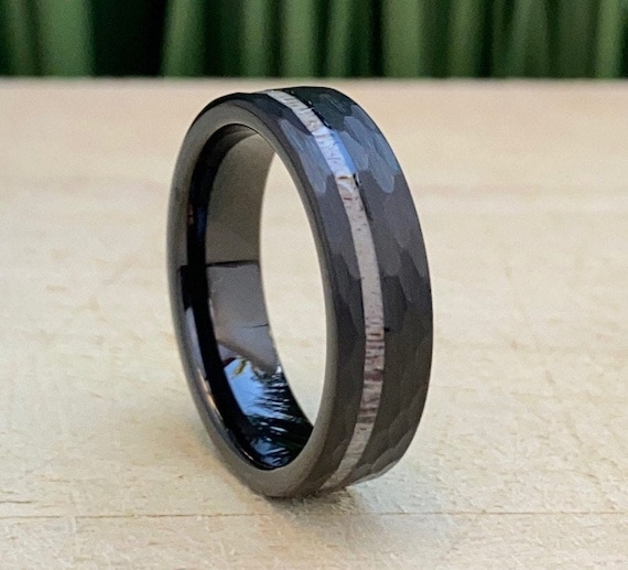 Hammered Black Wedding Ring Tungsten Band Deer Antler Inlays 6MM Men Women Brushed Finish Size 5 to 14 His Hers Anniversary Engagement Gift