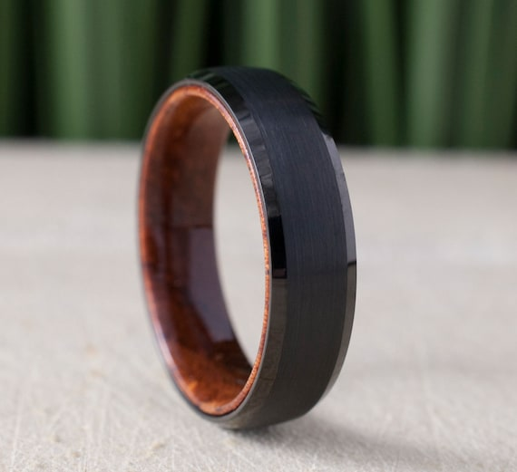 Black Tungsten Ring Wood Inside Wedding Band Brushed Rosewood Design Men 6MM Comfort Fit Sizes 5 to 14 Husband Anniversary Love Special Gift