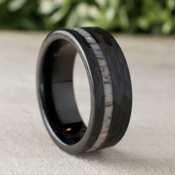 Black Hammered Tungsten Ring Deer Antler Wedding Band Mens 8MM Comfort Fit Design Size 5 to 15 Male Unique Fashion Anniversary Love Gift