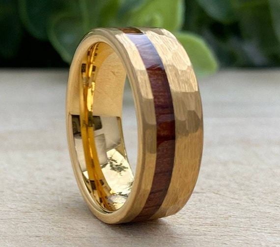 Mens Gold Hammered Tungsten Carbide Ring Wood Inlay 8MM Male Wedding Band Comfort Fit Size 5 to 15 His Anniversary Husband Promise Love Gift