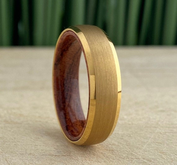 Yellow Gold Tungsten Ring Wood Sleeve Wedding Band Men Women Beveled 6MM Rosewood Inside Style Size 5 - 14 His Hers Anniversary Promise Gift