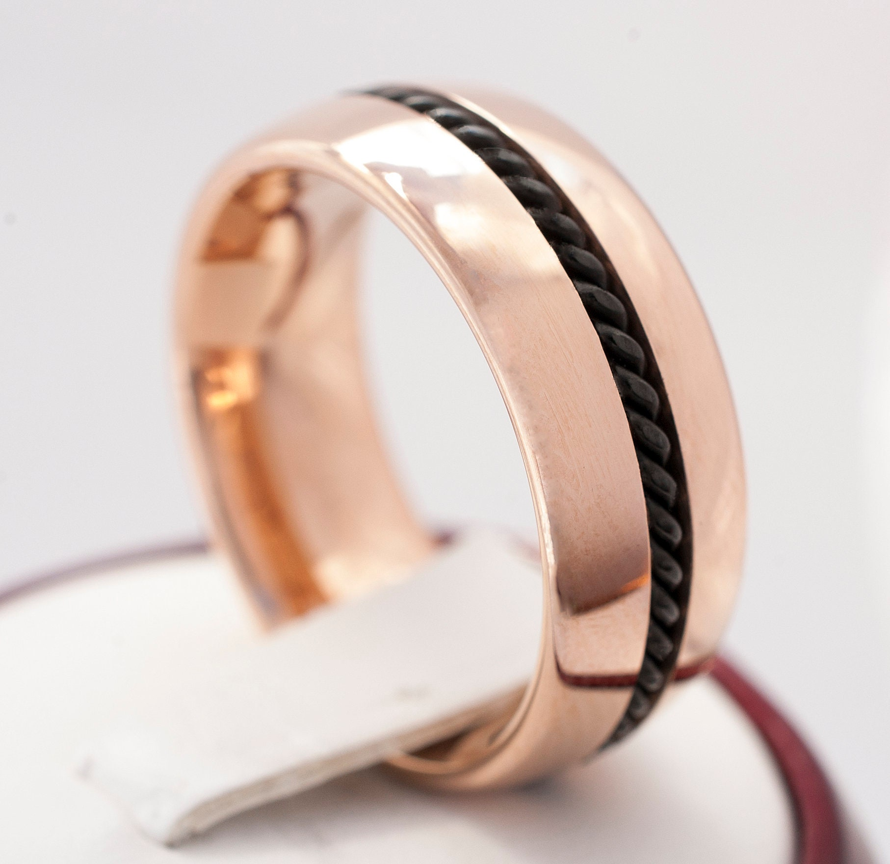 Rose Gold Tungsten Ring With Black Rope Inlay Polished Design Women
