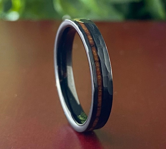 Black Tungsten Thin Hammered Ring Wood Inlay 4MM Women Men Wedding Band Brushed Style Size 4 to 14 Her His Anniversary Engagement Gift Idea