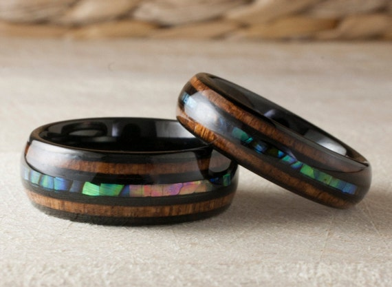 Black Tungsten Ring Wood Mother of Pearl Triple Inlay Set or 1  Wedding Band Abalone Shell Anniversary Duo 8MM 6MM Size 4 to 15 His Her Gift