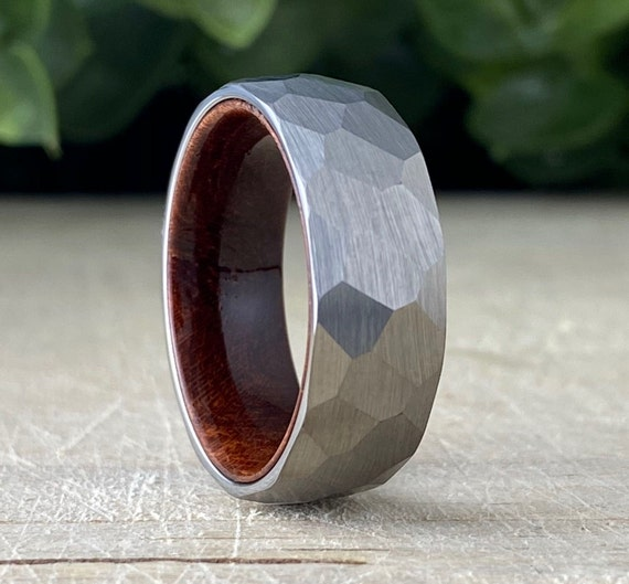 Hammered Wood Wedding Band Men Grey Smash Tungsten Ring Rosewood Inlay Brushed Design 8MM Size 5 to 15 Male Anniversary His Engagement Gift