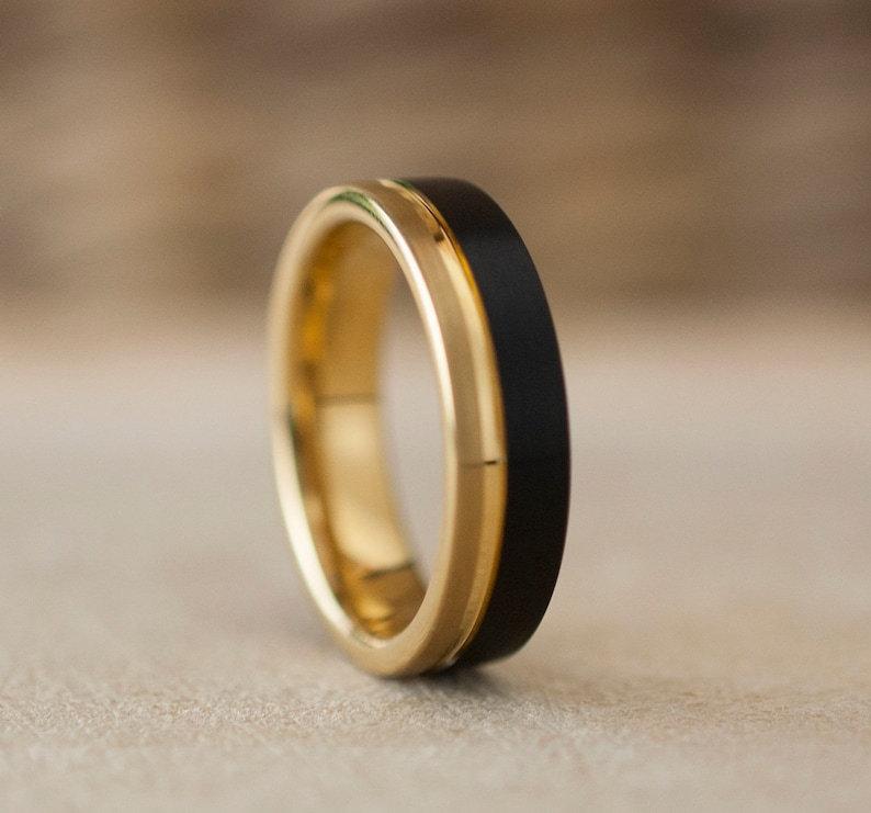 6MM Gold Tungsten Ring Men Women Black Wedding Band Two Tone image 1