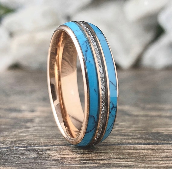Rose Gold Turquoise Meteorite Tungsten Ring Men Women Wedding Band 6MM Size 5 to 14 Male Shiny Anniversary Engagement Promise Her Love Gift