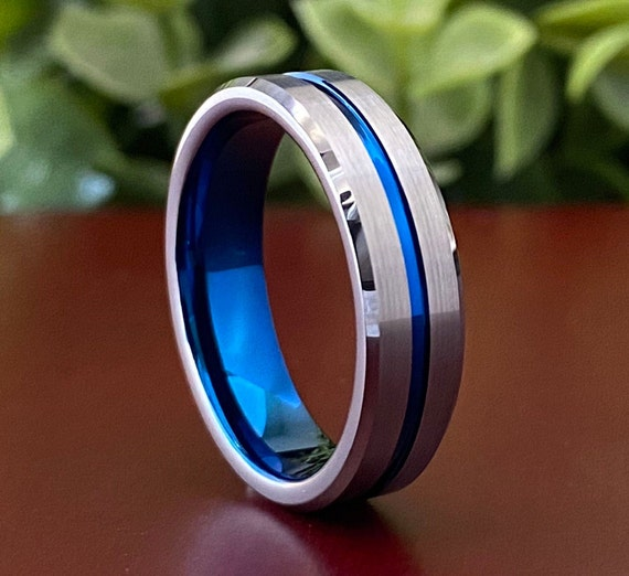 Male Tungsten Ring Blue Grey Wedding Band Men Women Comfort Fit Brush 6MM Sizes 5-14 Husband Anniversary Special Gift Elegant Promise Ring