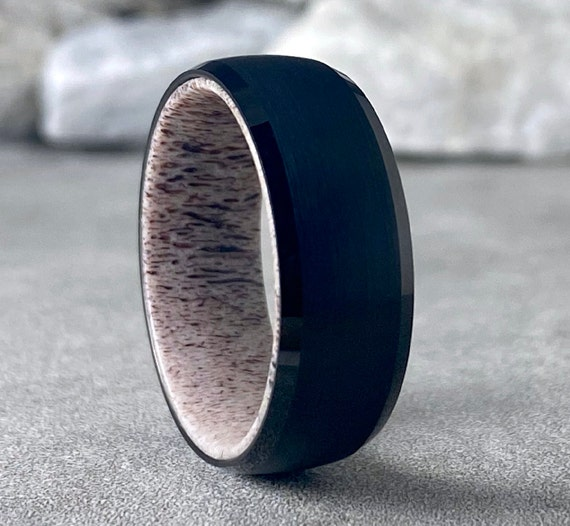 Deer Antler Inside Black Tungsten Ring Men Wedding Band Brushed Design 8MM Thick Sizes 5 to 14 Unique Husband Anniversary Love Fathers Gift