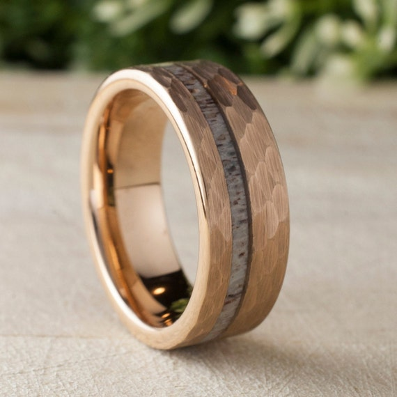 Deer Antler Hammered Rose Gold Tungsten Ring Mens Wedding Band 8MM Comfort Fit Design Size 5 to 15 Male Unique Anniversary Love Gift Idea