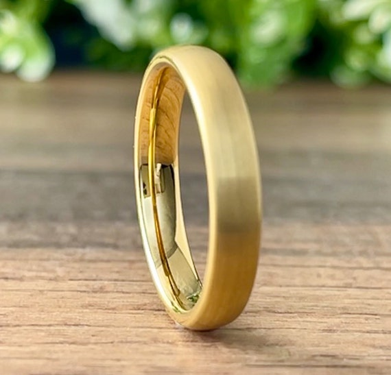 Thin Tungsten Ring Gold Wedding Bridal Band Women 4MM Classic Brushed Design Size 4 to 14 His Hers Anniversary Engagement Love Special Gift