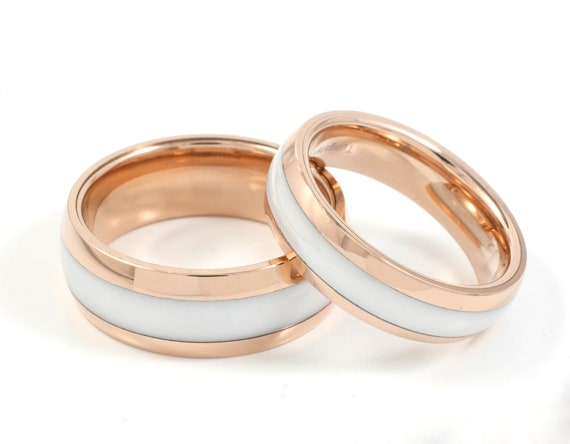 Tungsten Ring Rose Gold Men Women White Wedding Band Set Or Etsy