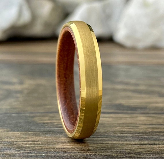 Yellow Gold Tungsten Ring Women 4mm Thin Wood Wedding Band Men Matte Finish Inside Rosewood Beveled Sizes 5 to 13 His Her Anniversary Gift