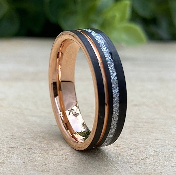 Meteorite Rose Gold Tungsten Ring Black Wedding Band Inlay Groove Men Women 6MM Size 5 to 14 His Her Engagement Anniversary Valentine Gift
