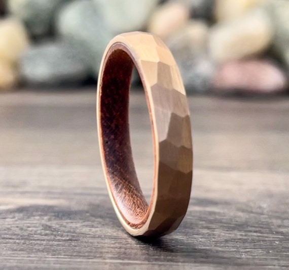 Rose Gold Hammered Wedding Band Thin Wood Inside Tungsten Ring Women Men 4MM Thin Matte Finish Size 5 to 13 Anniversary Engagement Gift Idea