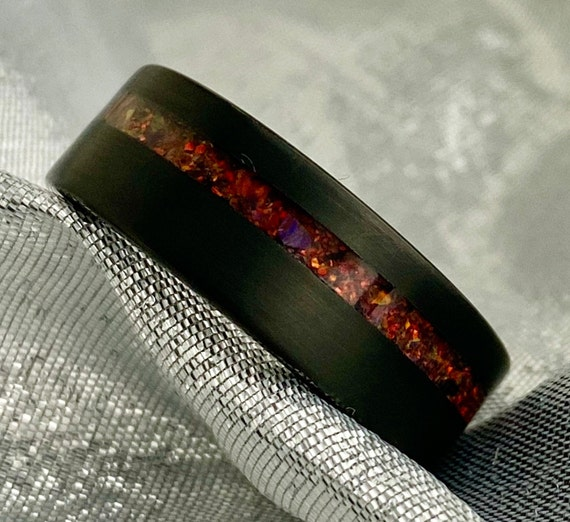Black Tungsten Ring Red Opal Inlay Wedding Band Mens 8MM Brushed Comfort Fit Size 5 to 15 Male His Anniversary Engagement Special Gift