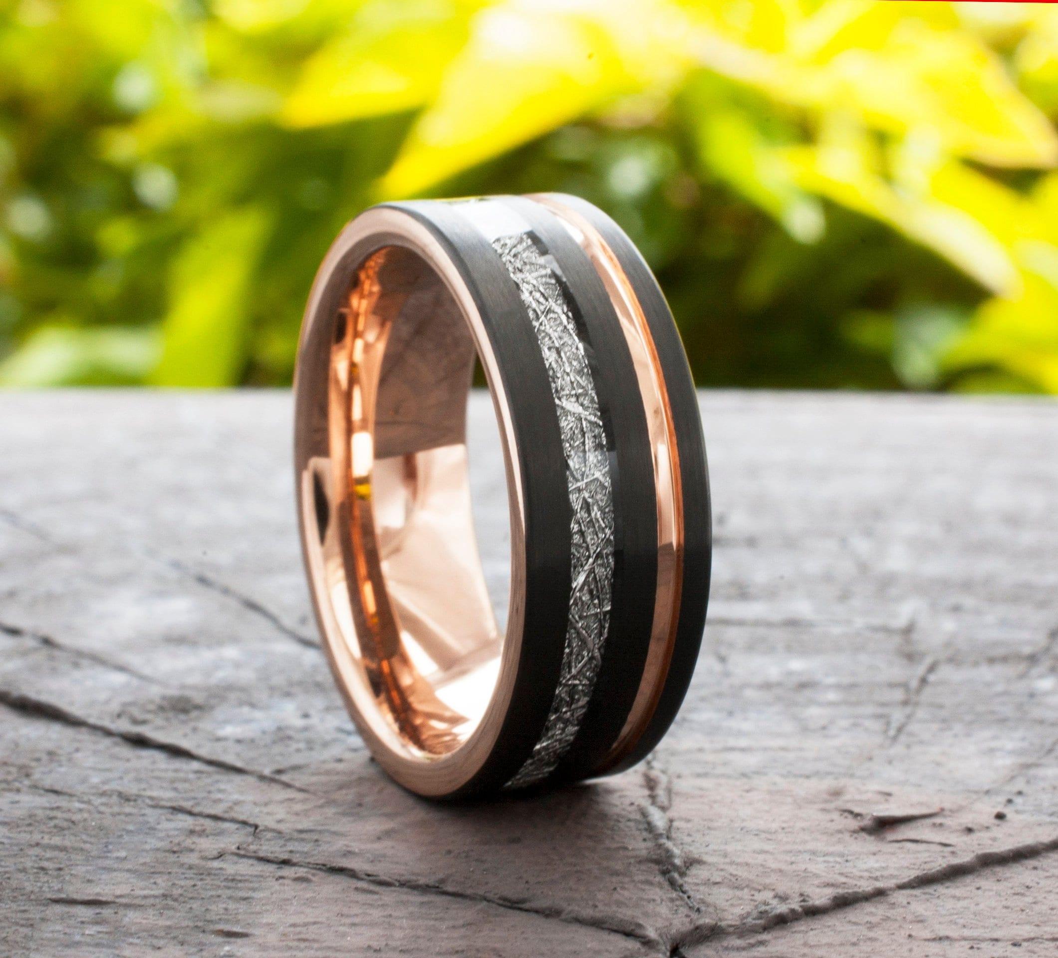 Rose Gold Tungsten Ring Black Wedding Band Meteorite Inlay Groove