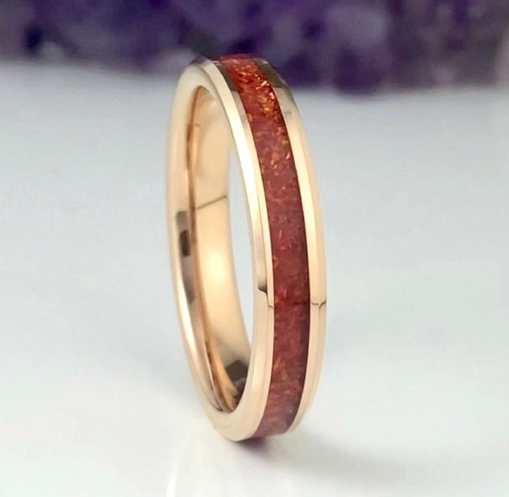 Red Opal Wedding Band Rose Gold Tungsten Ring 4mm Thin Women Men Beveled Design Size 4 to 12 Her Unique Anniversary Engagement Promise Gift