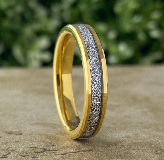 Thin Meteorite Tungsten Ring Yellow Gold 4mm Wedding Band Women Beveled Skinny Style Size 4 to 14 Wife Tiny Anniversary Men Engagement Gift