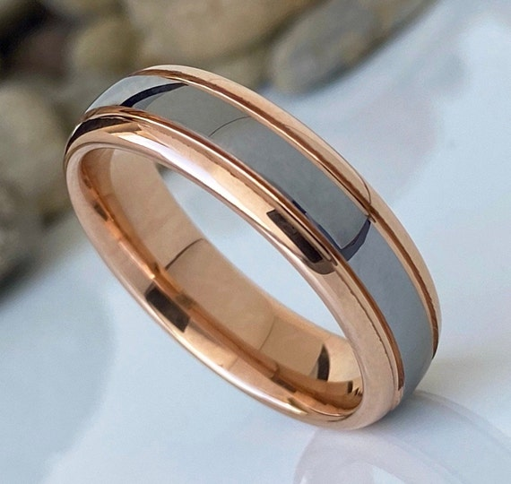 Rose Gold Tungsten Ring Grey Silver Color Wedding Band Men Women High Polished 6MM Sizes 5 to 14 His Engagement Anniversary Valentine Gift