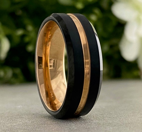 Men Rose Gold Wedding Ring Black Tungsten Band His Comfort Fit Design 8MM Size 5 to 14 Male Unique Anniversary Engagement Promise Gift Idea