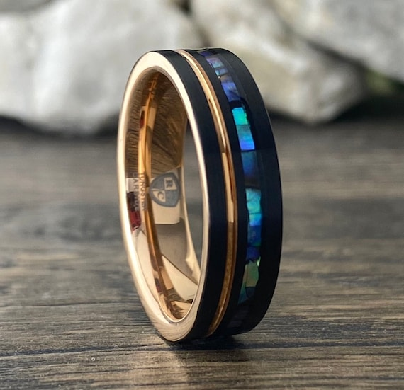 Mother Of Pearl Rose Gold Tungsten Ring Women Men Wedding Band Black Brushed Finish 6MM Size 5 to 14 His Her Anniversary Engagement Gift
