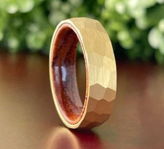 Hammered Gold Tungsten Ring Men Women Wedding Band Wood Inside Domed Design His Her 6MM Size 5 to 14 Rosewood Anniversary Gift Promise Ring