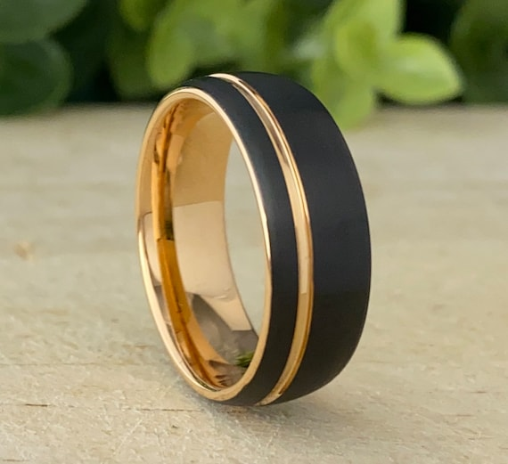 Rose Gold Tungsten Ring Wedding Band Men BlackTwo Tone Matte Brushed Style His 8MM Size 5 to 15 Great Anniversary Engagement Marriage Gift