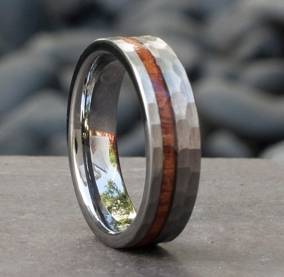 Mens Hammered Tungsten Ring 6mm Wood Inlay Women Grey Brush Wedding Band Comfort Fit Size 5 to 14 Male Female Anniversary Special Gift Idea