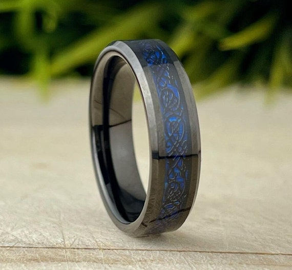 Dark Blue Celtic Black Tungsten Ring Men Women Wedding Band 6MM Sizes 5 to 14 His or Her Anniversary Gift Male Engagement Promise Ring