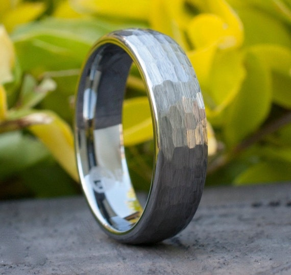 6MM Hammered Tungsten Ring Grey Brushed Men Wedding Band Women Classic Marriage Circle Size 5 to 14 His or Hers Anniversary Engagement Gift