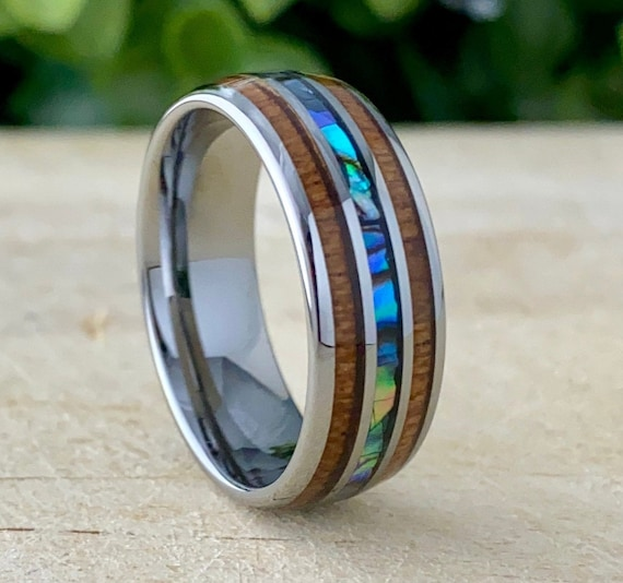 Wood Mother Of Pearl Grey Tungsten Ring Men Wedding Band 3 Inlay Size 5 to 14 His Her Abalone Male 8MM Anniversary Engagement Father Gift