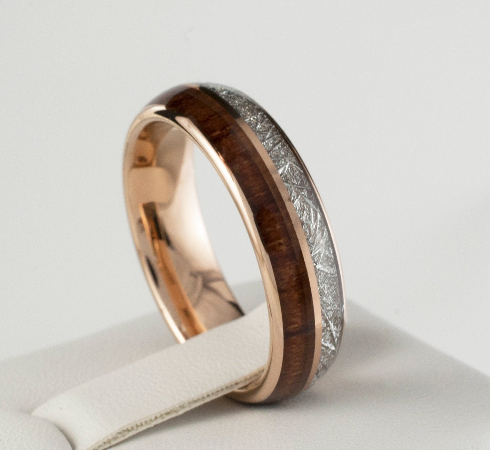 277490f65cd02 Wood Meteorite Rose Gold Tungsten Ring 6MM Male Female 2 Layer ...