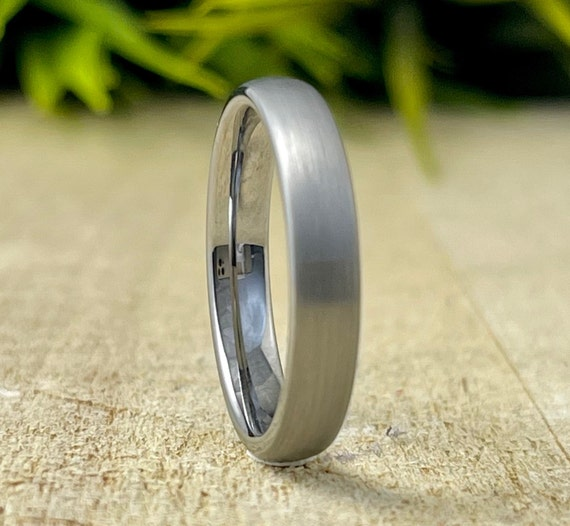 Tungsten Ring Women Wedding Bridal Band Grey Silver Color Brushed Domed Thin Design 4MM Size 4 to 14 Men Anniversary Gift Engagement Ring